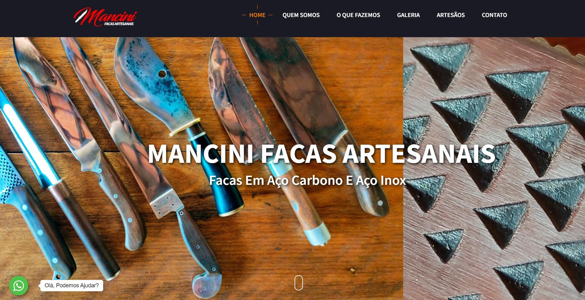 Novo Projeto Web no Ar! Mancini Facas Artesanais
